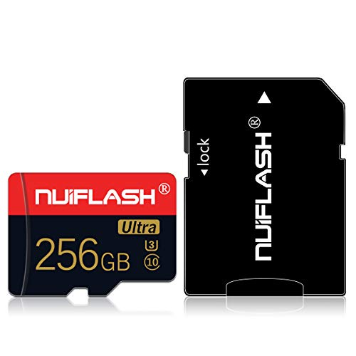 256gb Micro SD Card with Adapter Memory Card Class 10 High Speed TF Card for Cellphone Surveillance Camera Tachograph Tablet Computers Drone