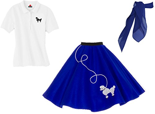 Hip Hop 50s Shop Adult 3 Piece Poodle Skirt Costume Set Royal Blue XLarge