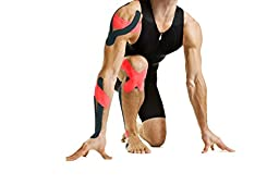WODFitters Kinesiology Tape 2 Pack - Durable, Adhesive & Elastic Kinesiology Athletic Tape - Long Lasting Waterproof Cotton Sports Tape (2 Pack, Black / Red Combo)