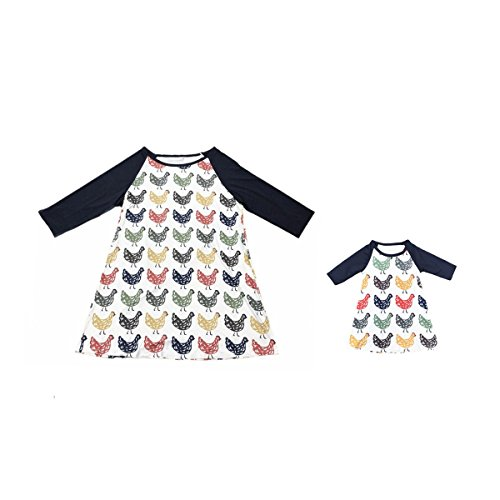 MONOBLANKS Mommy and Me Dresses Chicken Printed Raglan Dress (XXL, Mom)