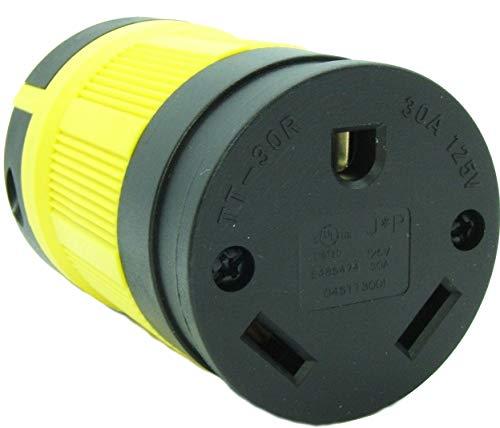 - Journeyman-Pro NEMA TT-30R, 30 Amp, 125 Volt, Straight Blade Female RV Trailer Plug Connector, Black/Yellow Industrial Grade, Grounding 3750 Watts Generator TT30 (TT30R-YELLOW)