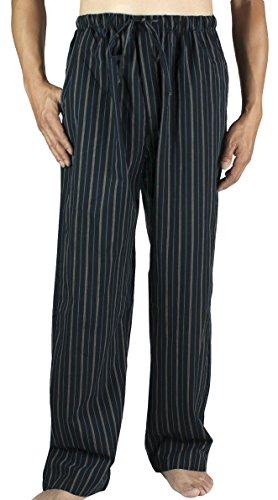 Leisureland Men's Cotton Poplin Pajama Lounge Sleep Pants Stripe Black Medium