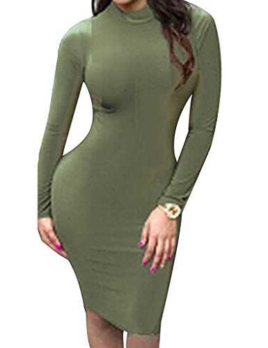 Orlando Johanson New Women Sexy Back Mesh Cross Cut Stretch Bandage Dark Green Dresses S #3Small - Orlando Designer Outlets