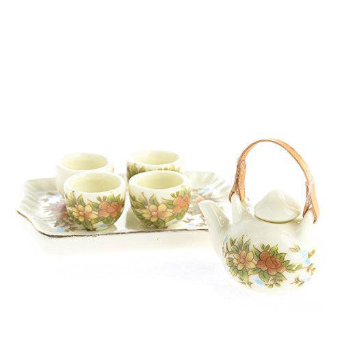 Ultra Tiny Antiquated Floral Painted Ceramic Tea Set for Dollhouse Displays, Crafting, and Creating -