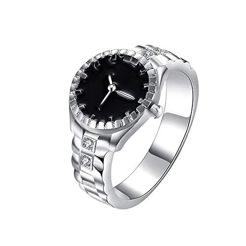 Hanican Creative Dial Quartz Analog Watch Rings Cool Women Mens Steel Alloy Finger Ring, D, ()