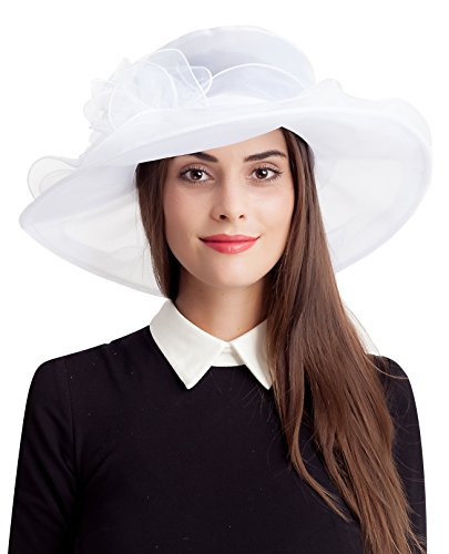 Seven Flowers White Easter Church Kentucky Derby Hat Women Bridal Fascinator Wedding Tea Party Hats by (Womens Fashion Derby)