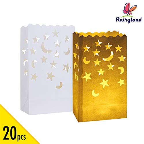 Halloween Party Event Proposal (20 pcs White Luminary Candle Bags Special Lantern Luminary Bag with Stars Moon Durable and Reusable Fire-Retardant Cotton Material for Wedding Valentine Reception Engagement Event Marriage)