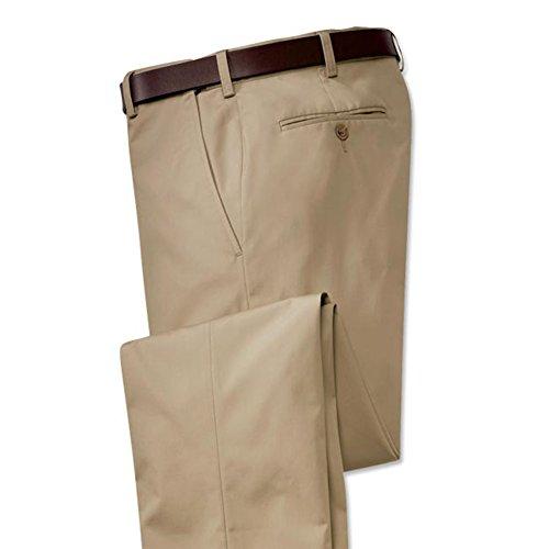 Orvis Poplin Expandable Comfort-Waist Pants - Plain Front, Khaki, 42W X 32L