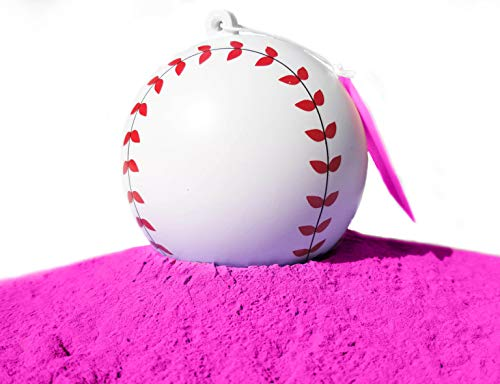 J&M Gender Reveal Baseball for Baby Showers and Reveal Parties – 100% All Natural Holi Powder (Pink)