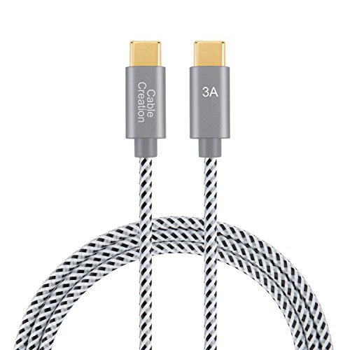 USB Type C to C Cable(3A), CableCreation 1ft Short USB 2.0 Type-C Cotton Braided Fast Charge Cord, for Apple Macbook, Nintendo Switch, Galaxy S8/S8+ etc., 0.3m/ Space gray