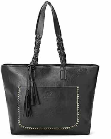 OURBAG Women Vintage PU Leather Tote Shoulder Bag Handbag Big Large Capacity