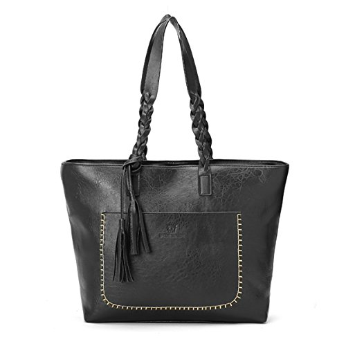 Women Fashion Color Large Capacity Bag Shoulder Tote Bag (Black) - 3