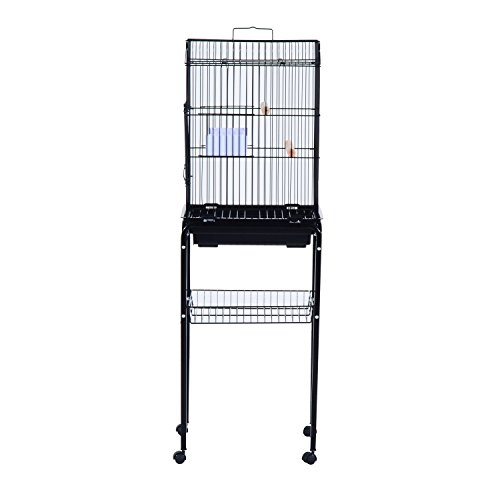 "PawHut 51"" Metal Indoor Bird Cage Starter Kit with Detachable Rolling Stand, Storage Basket, and Accessories - Black"