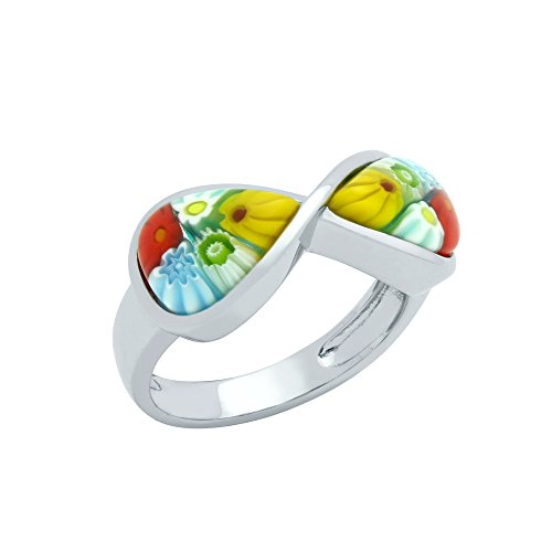Tow Pear-Shaped Multicolor Murano Millefiori Glass Infinity Ring Rhodium Plated 925 Sterling Silver Size 6