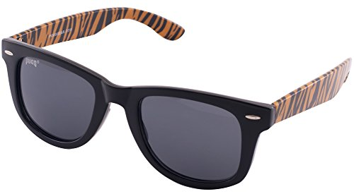 903 Pugs 100% UV Wayfarer Sunglasses (Orange Tiger Frame, Medium Black - Pug Sunglasses With
