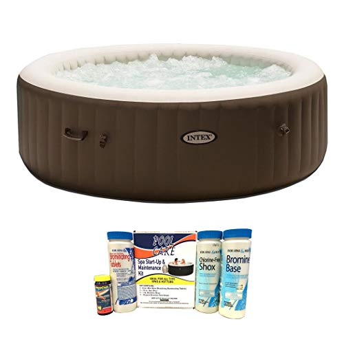 Intex Pure Spa 6 Person Portable Inflatable Bubble Jet Massage Heated Hot TubQualco QLC-14888 Spa Hot Tub Chemical Start Up Home Maintenance Kit with Bromine (What's The Best Inflatable Hot Tub)