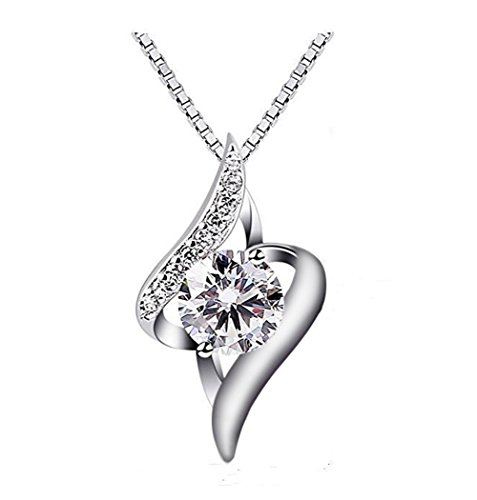 925 Sterling Silver Plated Pendant Necklace with In the middle one White Big Cz Jewelry for Women