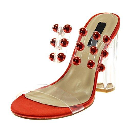 on Cm trasparente con 11 alto vernice Rosso Angkorly Donna Altezza con Slip 5 borchie Sandali lacci in tacco con Scarpe Moda xgZwSHqY