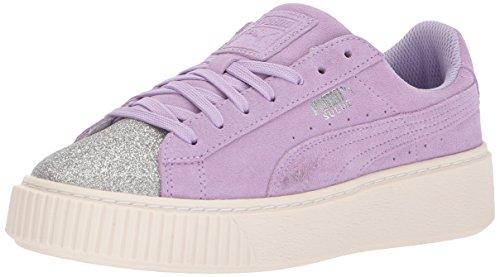 PUMA Kids' Suede Platform Glam Sneaker, Silver-Purple Rose, 7 M US Big - Kids Platform