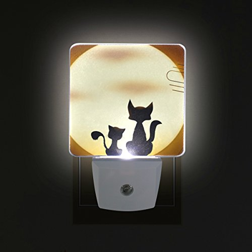 LORVIES Two Cats On The Roof Plug in LED Night Light Auto Sensor Smart Dusk to Dawn Decorative Night for Bedroom, Bathroom, Kitchen, Hallway, Stairs,Hallway,Baby's Room, Energy Saving by LORVIES