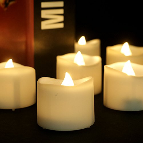 youngerbaby 24pcs warm white flickering tea light candles free 100 fake rose petals flameless. Black Bedroom Furniture Sets. Home Design Ideas