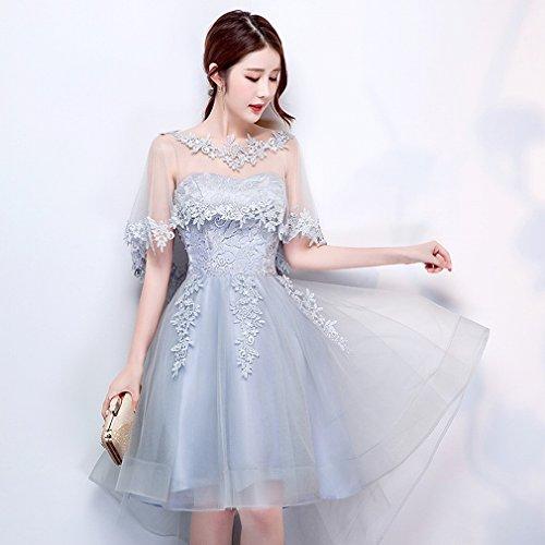 Blau Kurzes Grau Kleines Kleid Brautjungfer Moderne Brautbrautjunferkleid M Ein Punktspitzekleid DHG Dünnes wUETqZx