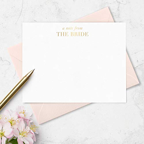 Bridal Note Cards Stationery Note from the Bride - Boxed Set of 10 Flat Cards - Stamped with Gold Foil - Choose Envelope ()