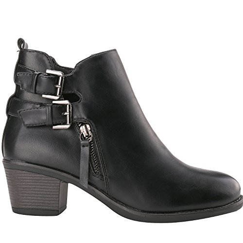 Alexis Leroy - Double Buckle Classic Solid Heeled Jodhpur Boots para mujer Negro