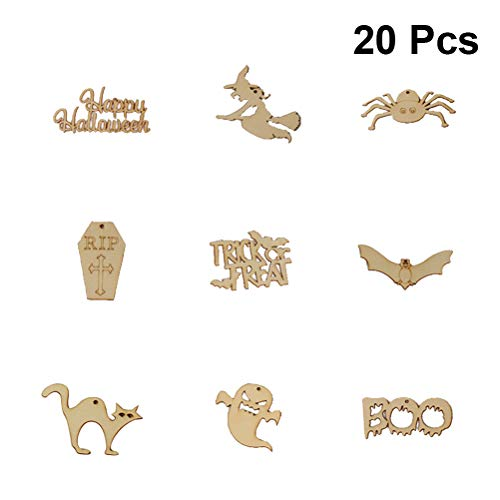 Amosfun 20pcs Wooden Cutouts Halloween Embellishments Hanging Ornaments for Crafts Witch Bat Spider Slices DIY Crafts Wood Tag for Halloween Party Decorations(Assorted Pattern)