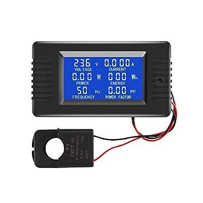 AC Current Voltage Amperage Power Energy Panel Meter LCD Digital Display Ammeter Voltmeter Multimeter 6in1 with Split Core Current Transformer CT AC 80-260V 100A