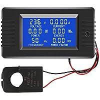 AC Current Voltage Amperage Power Energy Panel Meter LCD Digital Display Ammeter Voltmeter Multimeter with Split Core…