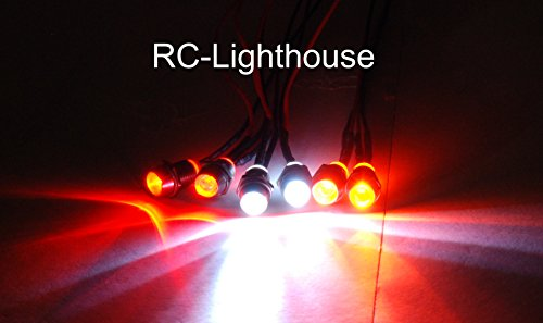 RC LED Lights for Truck, Car, Buggy - 2 white, 2 amber and 2 red 5mm LED lights - USA Made- Work with Traxxas, HPI, Redcat Racing, Team (Cen Racing Rc Car)