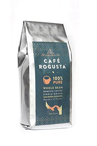 Cafe Rogusta Panama Whole Bean Coffee - Single Origin Fine Robusta Coffee - Sustainable - Fair Trade - Panamanian Coffee Beans - Medium to Dark Roast (400 g) -