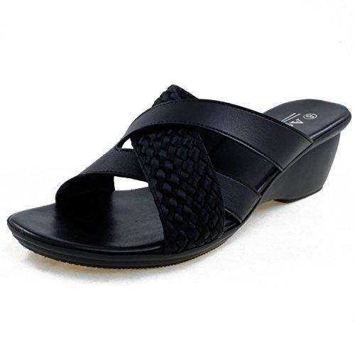 Agape HOLDING-46 Lightweight Crisscross Wedge Sandal Black 8.5 by Agape (Image #1)