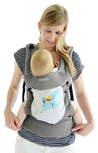 Mo+m Fashion Convertible Baby Carrier w/ Interchangeable Design Panels - Sling for Infants up to Toddler Age - Head Support, Protective Hood, Storage Pockets, Bottle Pouch & Mesh Cooling Window