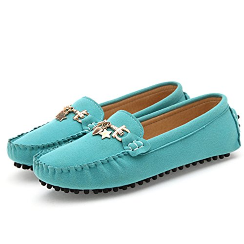 Sunrolan Women's Ladies Suede Round Toe Flats Slip-ons Loafers Driving Moccasins Shoes Blue OsqQAOVp6