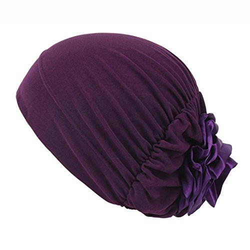 Elevin(TM)Women Summer Indian Muslim Stretch Turban Hat Ruffle Cancer Chemo Cap Hair Scarf Headwrap (Purple) Summer Patch Cap