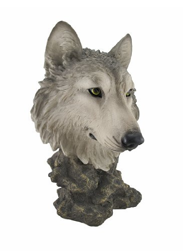Life-Like Wolf Head Bust Statue Nature Decor Wolves