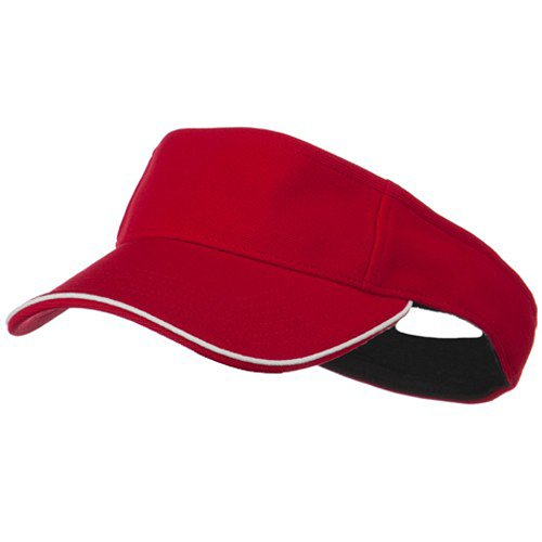 (e4Hats.com Knitting Stretchable Fitted Visor - Red White OSFM)