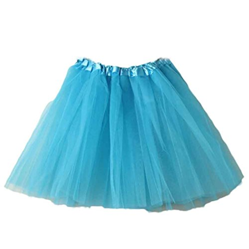 Mini Skirt Women Liraly Ballet Tutu Layered Organza Lace (Sky Blue)