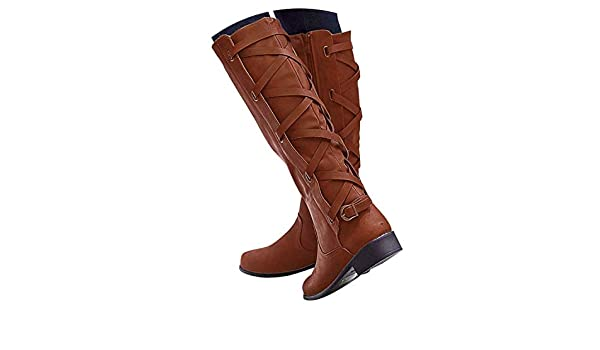 Amazon.com | Botines Shoes Woman Ladies Buckle Roman Riding Knee High Cowboy Casual Long Boots Botas, Brown, 7, US | Knee-High