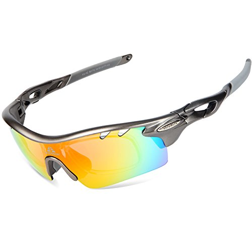 HODGSON Polarized Sports Sunglasses for Men Women with 5 Interchangeable Lenses