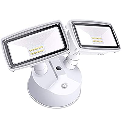 Amico Dusk to Dawn Light LED Outdoor Flood Lighting 20W LED Security Lights [180W Equivalent] 6000K IP65 Waterproof Dual Head