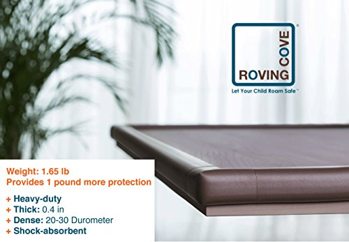 Large Product Image of Roving Cove | Baby Proofing Edge & Corner Guards | Safe Edge & Corner Cushion | Child Safety Furniture Bumper | Table Protectors | Pre-Taped Corners | 20.4 ft [18 ft Edge + 8 Corners] | Coffee brown