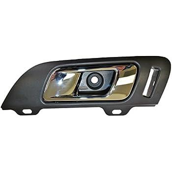 Black with Woodgrain Bezel PT Auto Warehouse CH-2335A-FL Inside Interior Inner Door Handle Driver Side Front