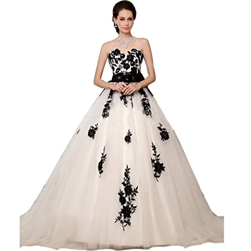 Chady Black and White Lace Vintage Wedding Dresses Plus size 2017 Sweetheart A Line Wedding dresses For Bride Ball Gown by Chady