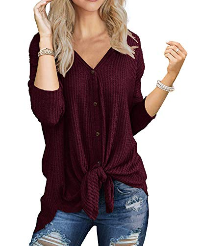I2CRAZY Button Down Shirts for Women Casual Batwing Knit Sweaters Long Sleeve Loose Tunic Tops - L, Wine Red ()