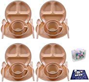 Camping Dish Set 26 Pieces Dinnerware Set with Camping Plates Cups and Bowls Eating Utensils,4 Person Backpack