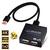 HDMI Splitter 1 in 2 Out, NEWPOWER 1x2 Hdmi Splitter Supports Full HD 4K @ 30HZ & 3840×2160P & 3D for Xbox PS4/ 3 Roku Blu-Ray Player Fire TV (Included High Speed HDMI Cable)