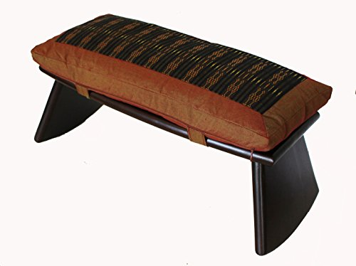 Meditation Bench Cushion Set Folding Seiza Global Weave Saffron